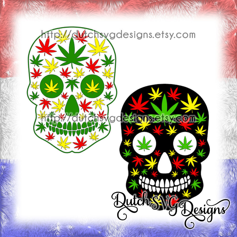 Skull Cutting File With Weed Leaves In Jpg Png Svg Eps Dxf For