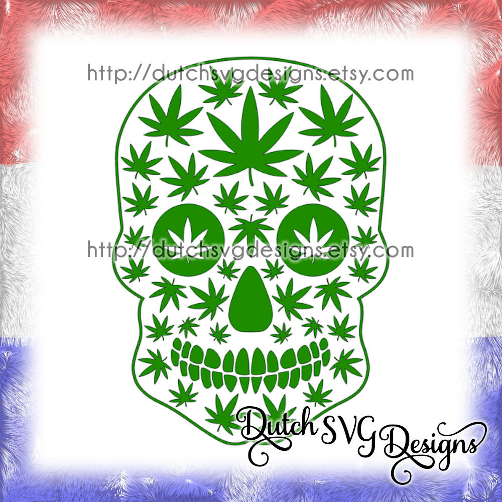 2 Skull Cutting Files With Weed Leaves In Jpg Png Svg Eps Dxf
