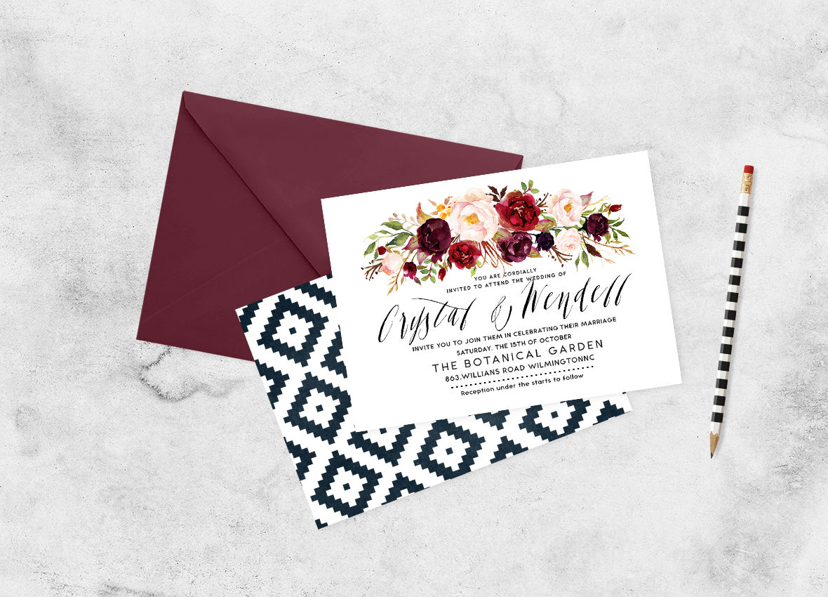 Watercolor flower Clip Art-Marsala By Graphic Box ...