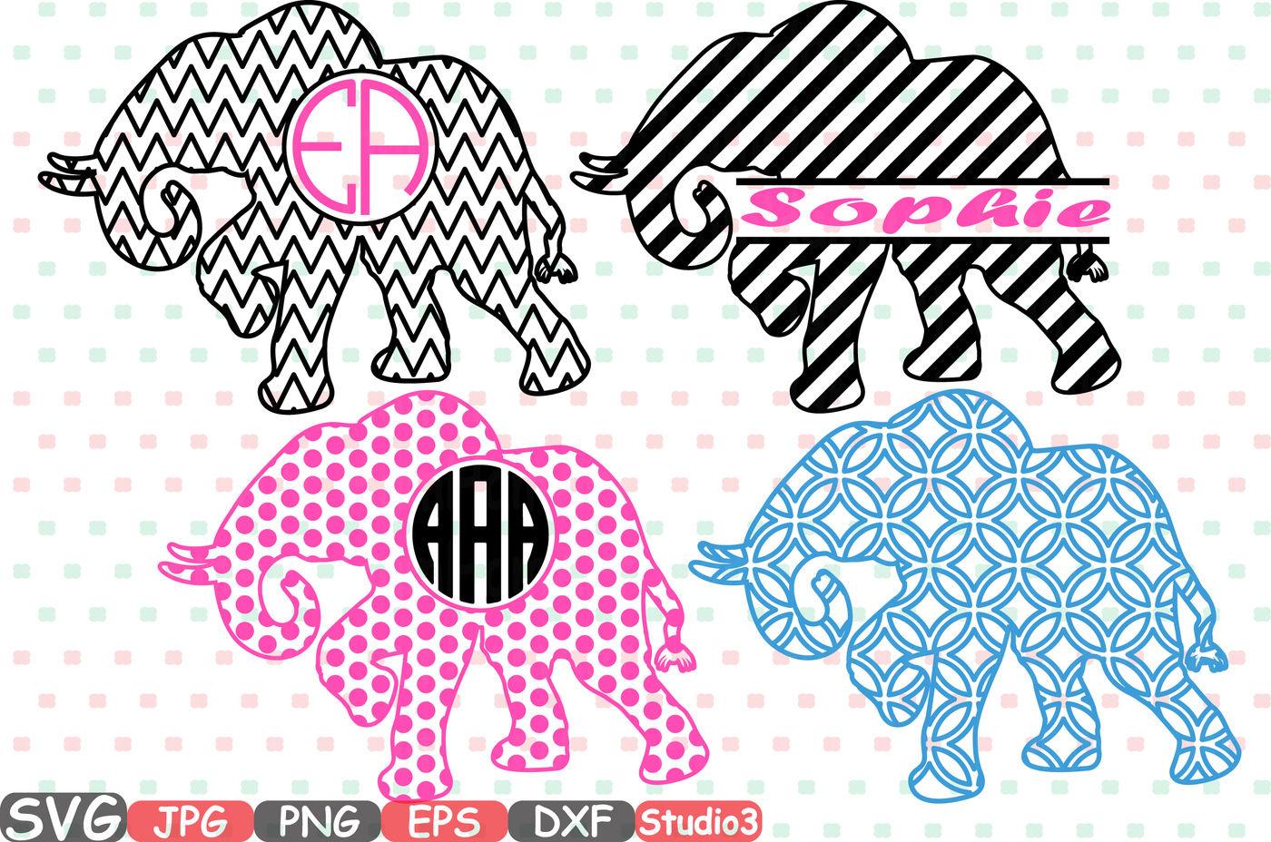 Elephant Frames Svg Silhouette Cutting Files Cricut Design Split