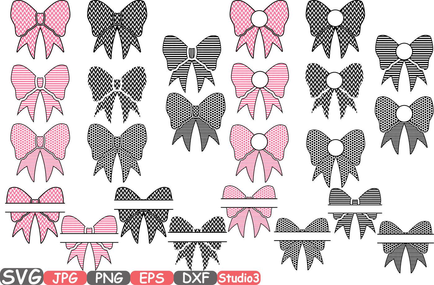 Patterned Bows Frames Svg Silhouette Cutting Files Cricut Split