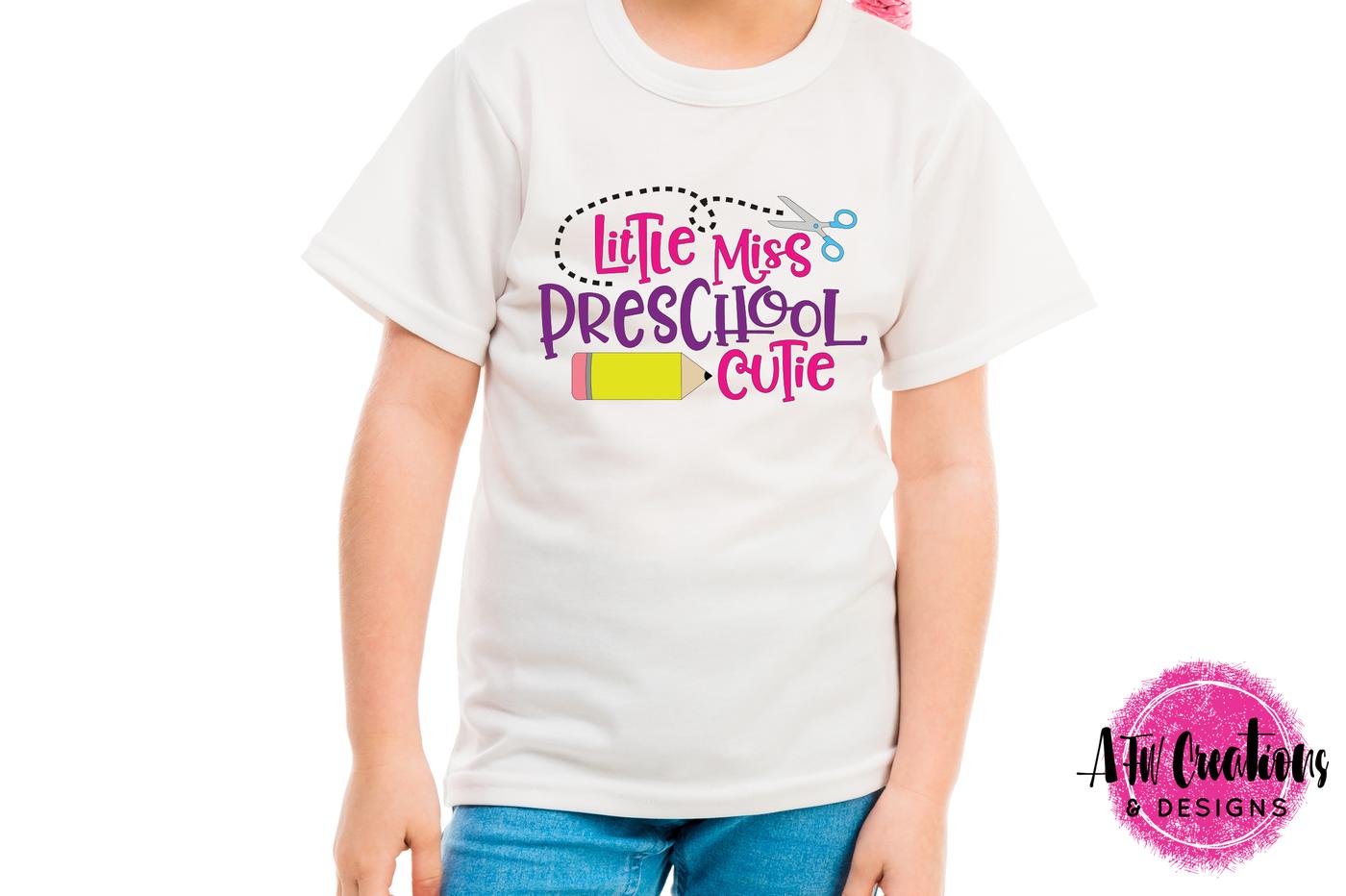 Little Miss Preschool Cutie Svg Dxf Eps Cut File By Afw Designs Thehungryjpeg Com
