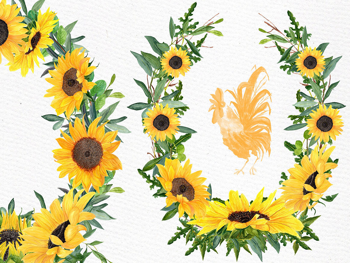 Sunflower clipart Watercolor Wreath By LeCoqDesign ...