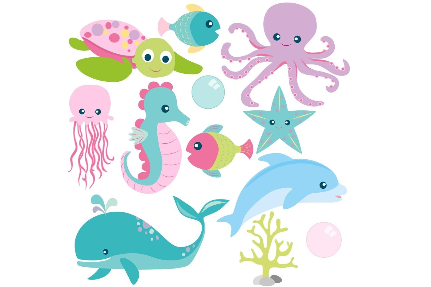 Girls Sea Animals Clipart and Digital Paper Set By ...