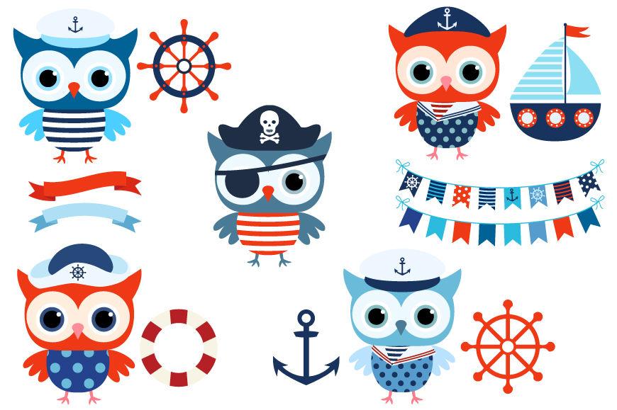 Boy nautical owl clipart, Cute sailor owls clip art ...