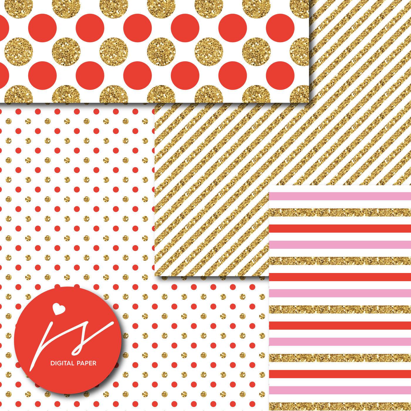 Pink And Red Gold Digital Paper Glitter Digital Paper Gold Polka