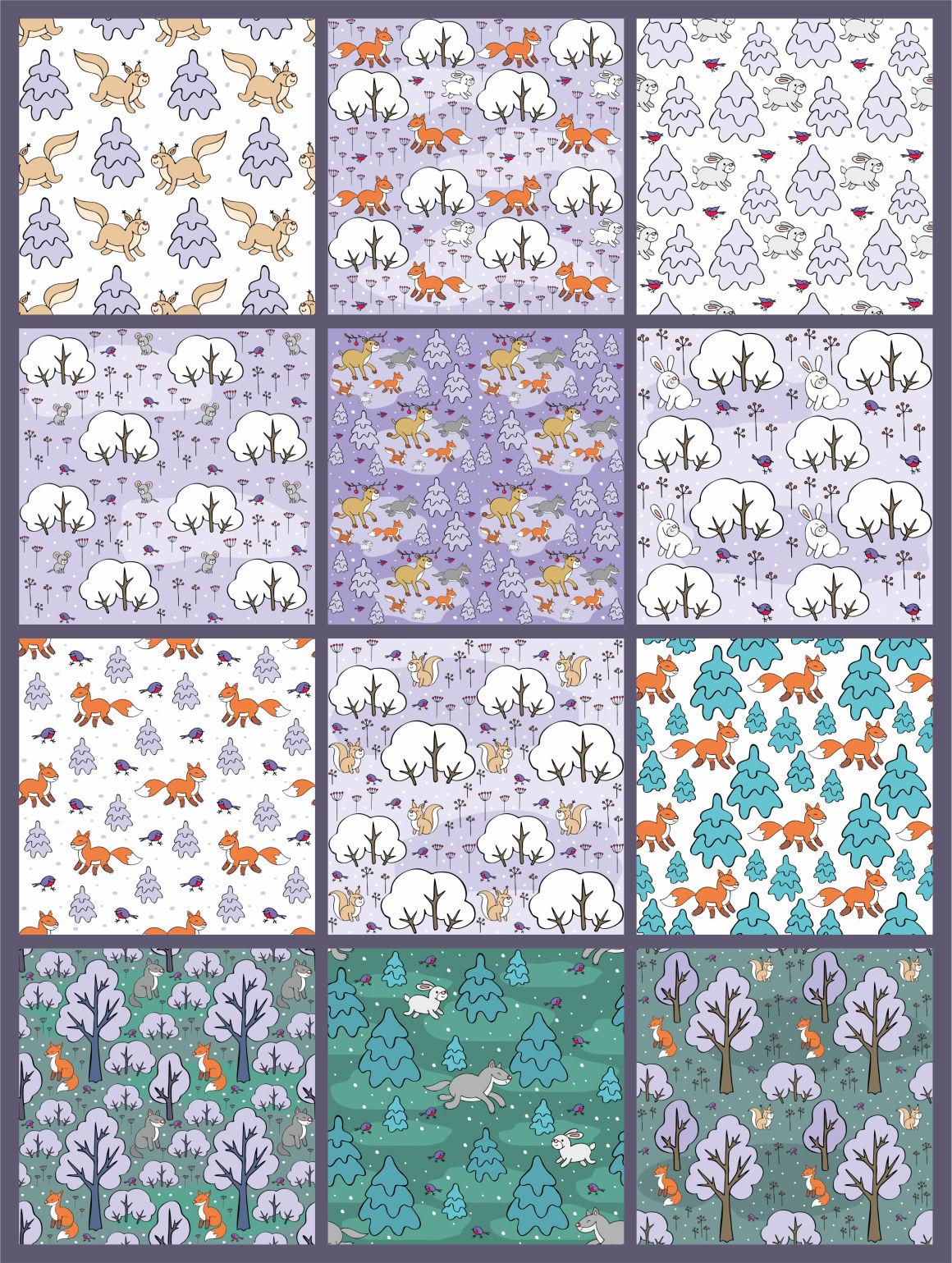 Woodland Animals Christmas Seamless Patterns By Olga Belova