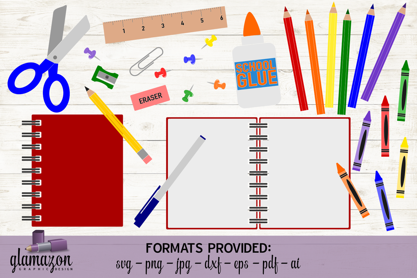 School Supplies Graphic Bundle Svg Dxf Eps Png Pdf Jpg Ai