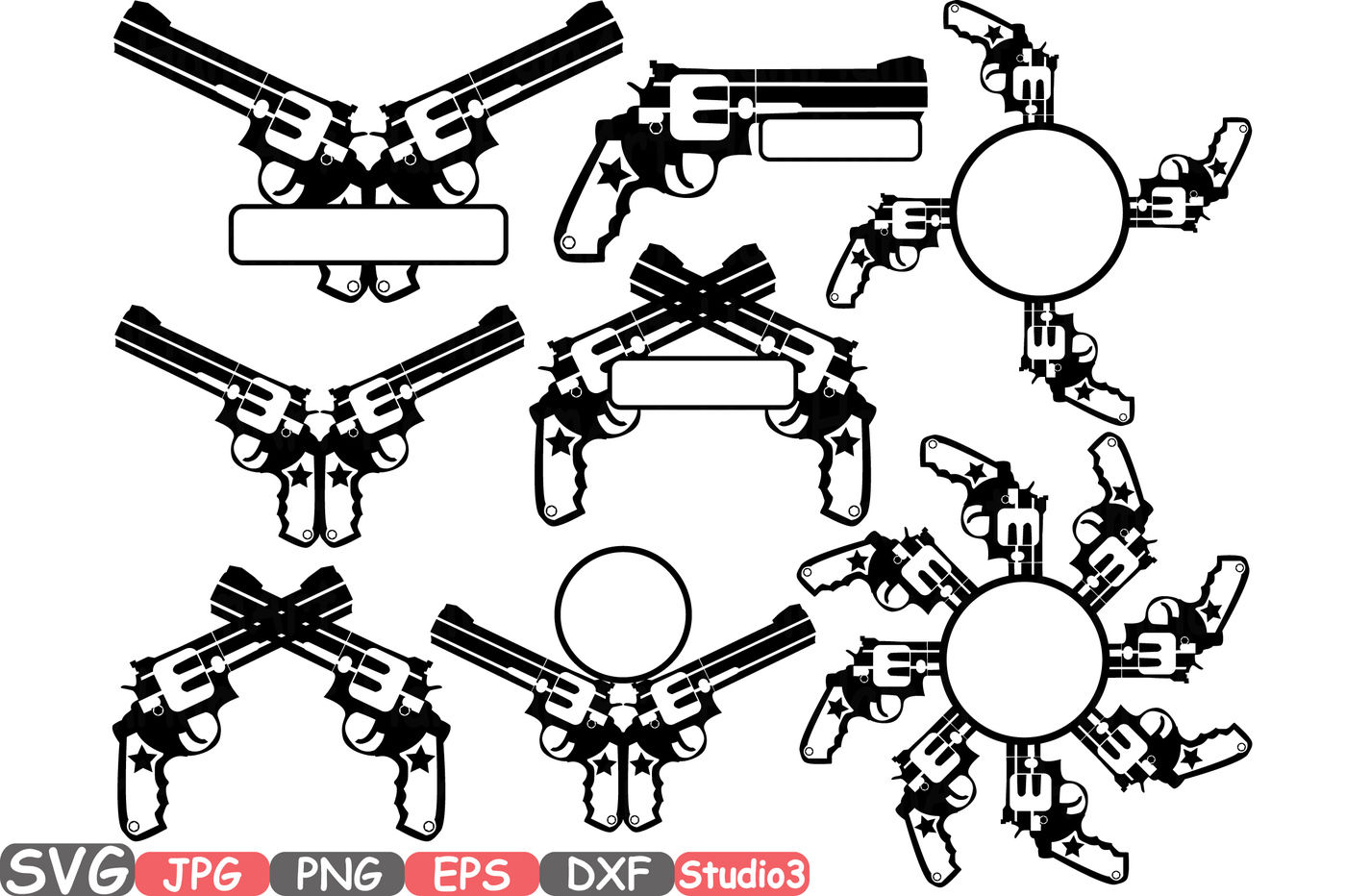 Guns Split Circle Ssvg Silhouette Cutting Files Cricut Studio3