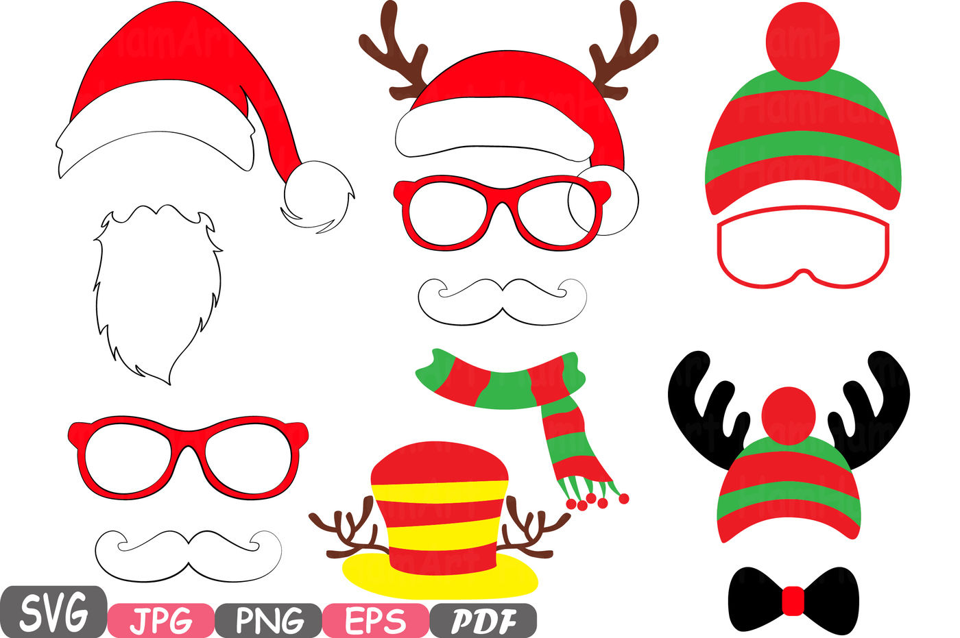 Christmas Props Party Photo Booth Silhouette Costume Cutting Files