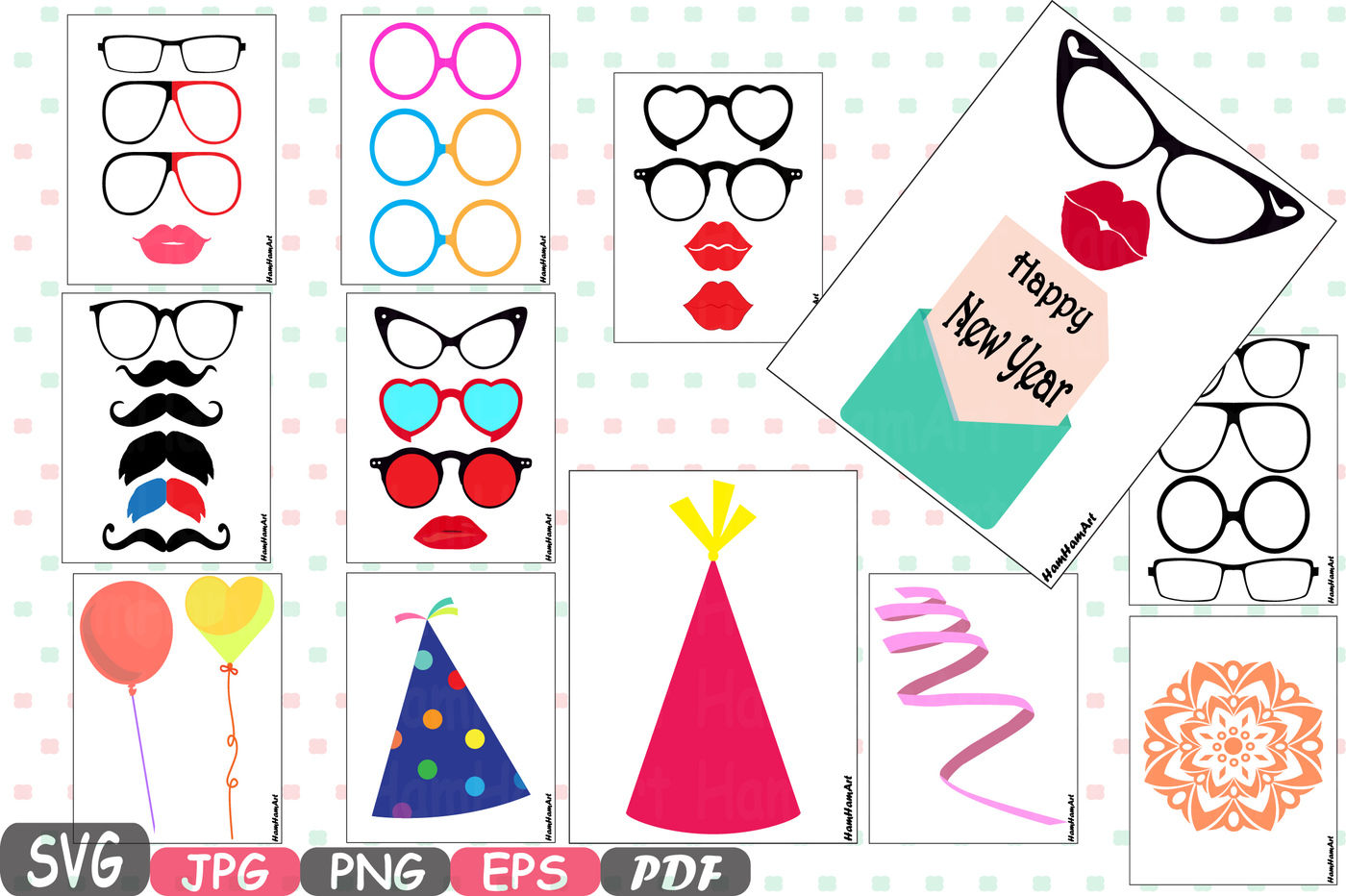 Party Photo Booth Prop Emoji Prop Silhouette Happy New Year Cameo