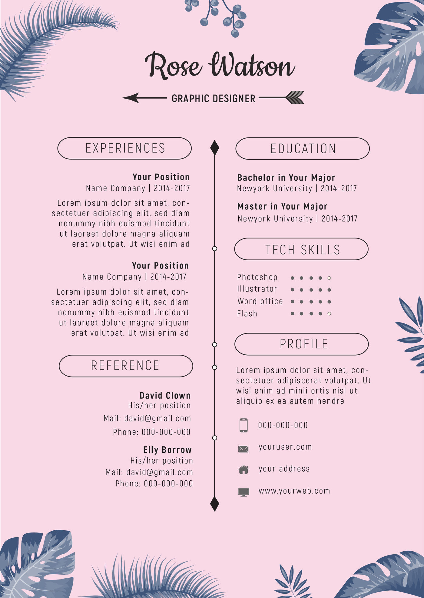 jungle blue-pink resume template   letterhead   g by
