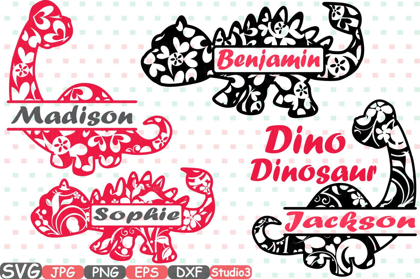 Split Dinosaur Frames Dinos Floral Flower Svg Silhouette Cricut