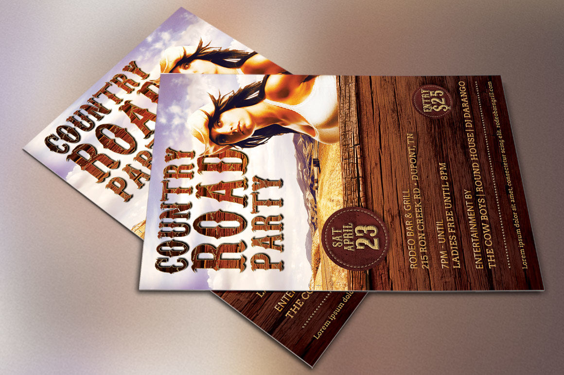 Country Road Party Flyer Template By Godserv Designs
