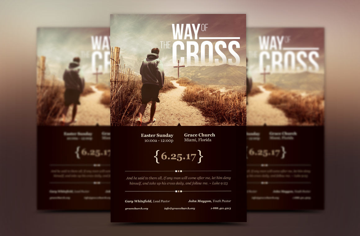 Cross Way Easter Flyer Poster Template By Godserv Designs