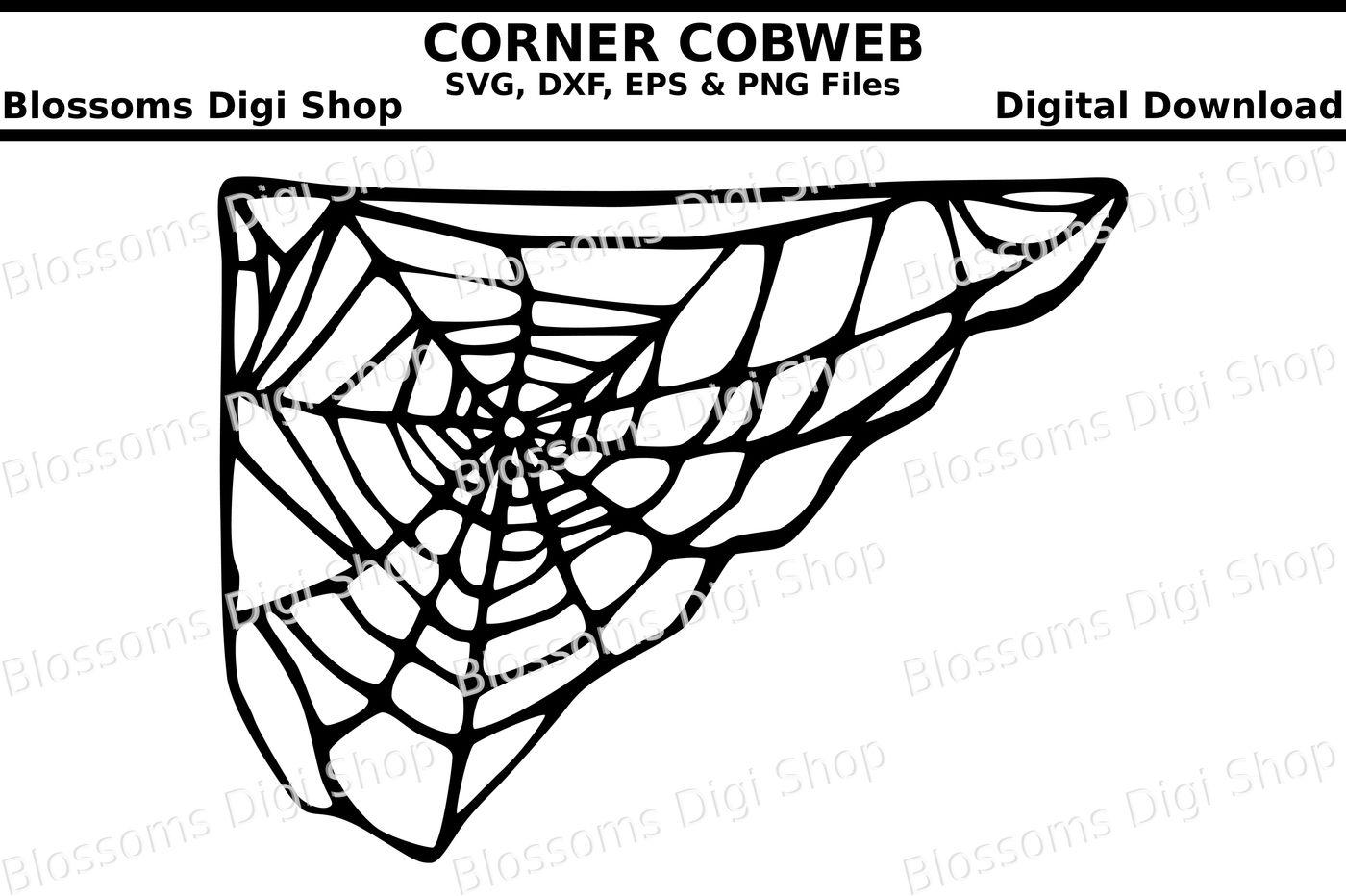 Corner Cobweb Cut File Svg Dxf Eps And Png Files By Blossoms Digi Shop Thehungryjpeg Com