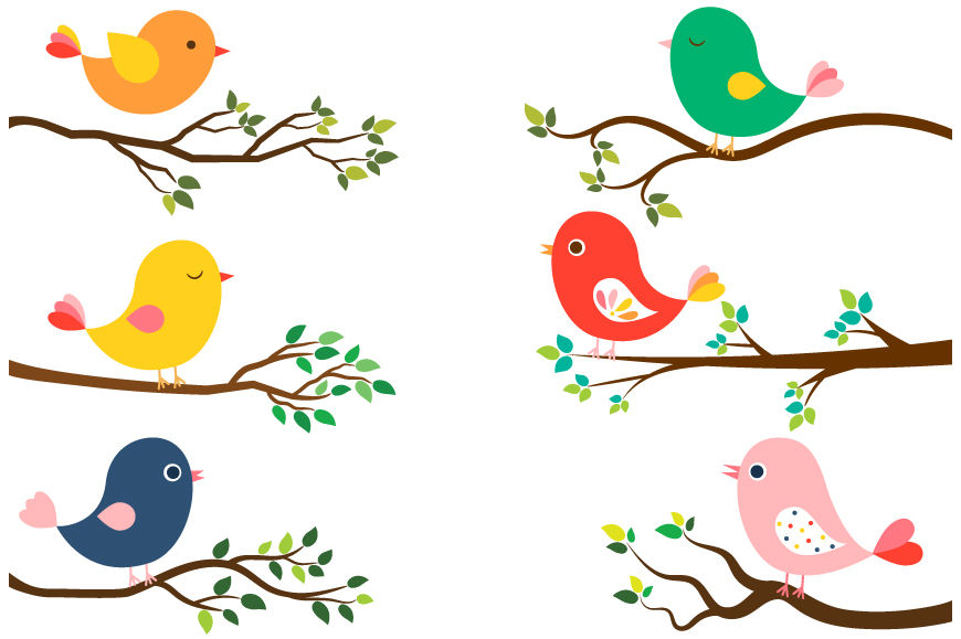 Cute colorful birds clipart, Tree branches green leaves ...