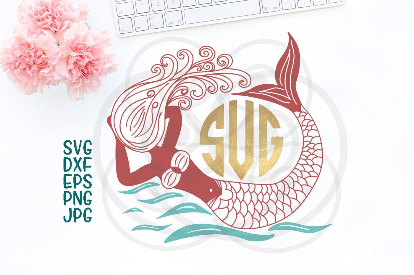 Mermaid Cricut File Hand Drawn Mermaid Ocean Svg Swimming