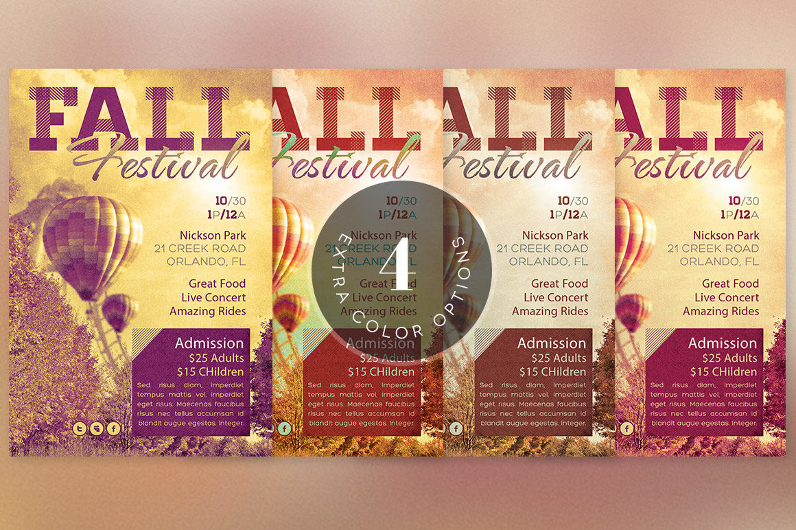 fall festival event flyer template by godserv designs