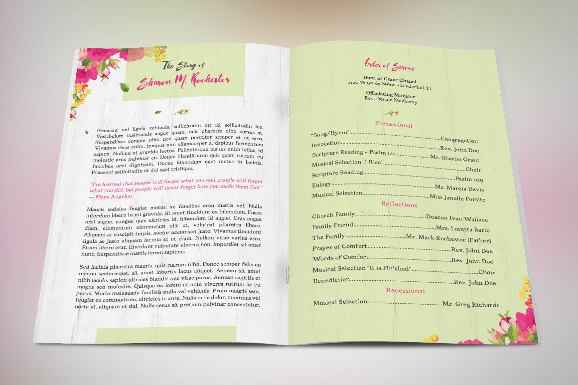 Floral Funeral Program Template By Godserv Designs