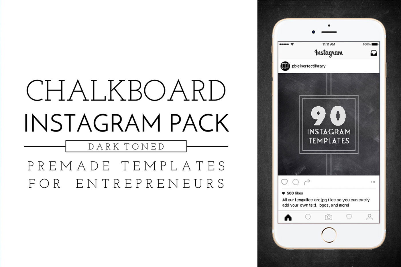 Dark Chalkboard Instagram Pack By Pixel Perfect Library