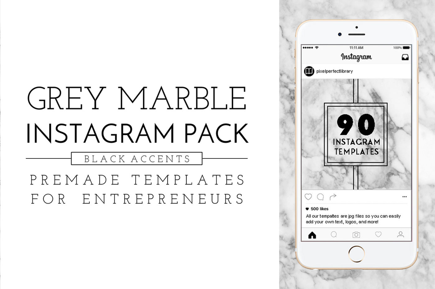 Marble Black Instagram Pack By Pixel Perfect Library
