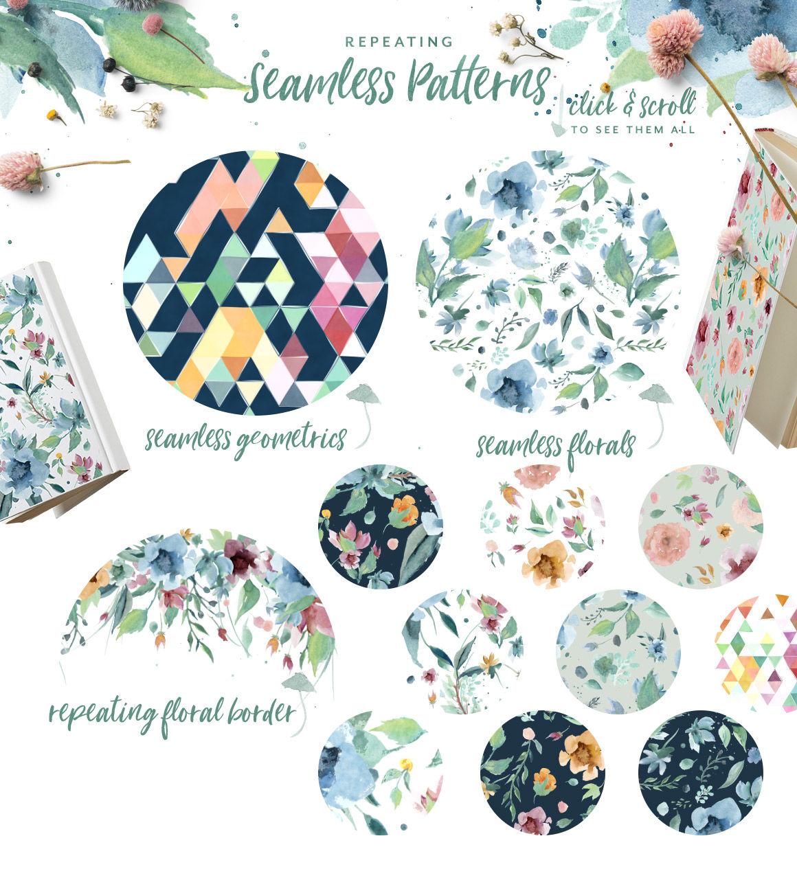 Loving Saskia Font Watercolor Bundle By Creativeqube Design