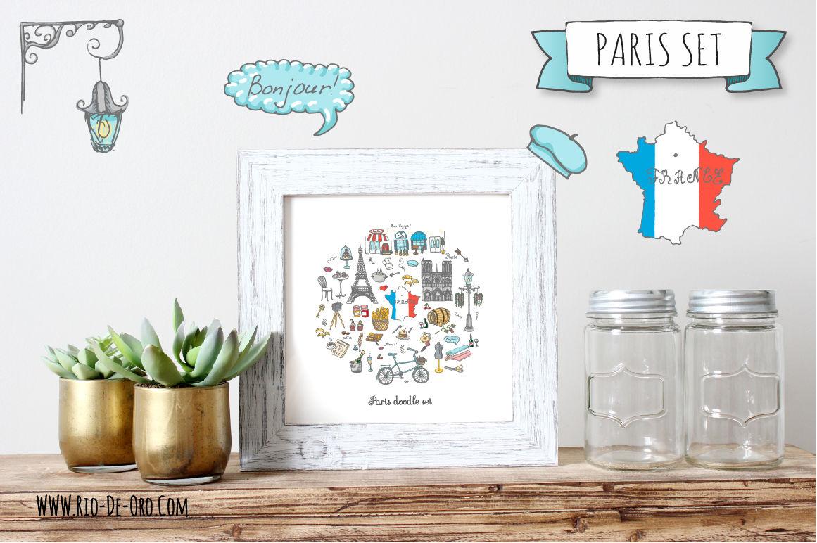58 Paris Color Hand Drawn Icons By Natasha Pankina