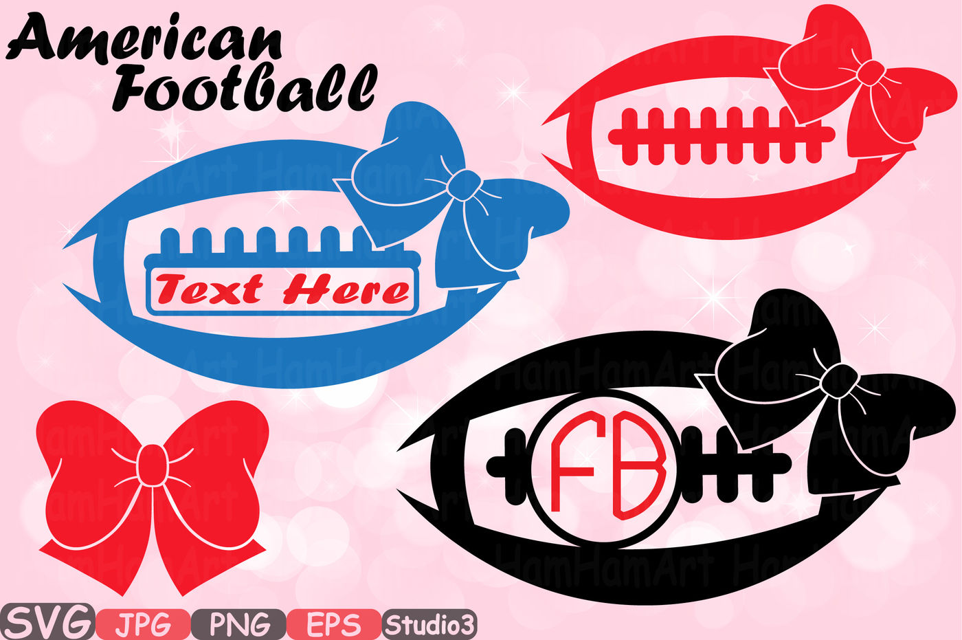 Football Bow Sports Circle Split Frame Silhouette Studio 3 Svg