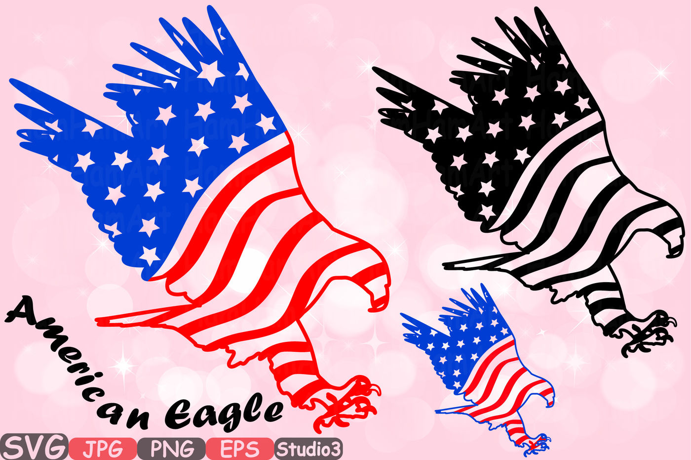 Eagle with American Flag Clipart - Clip Art Bay