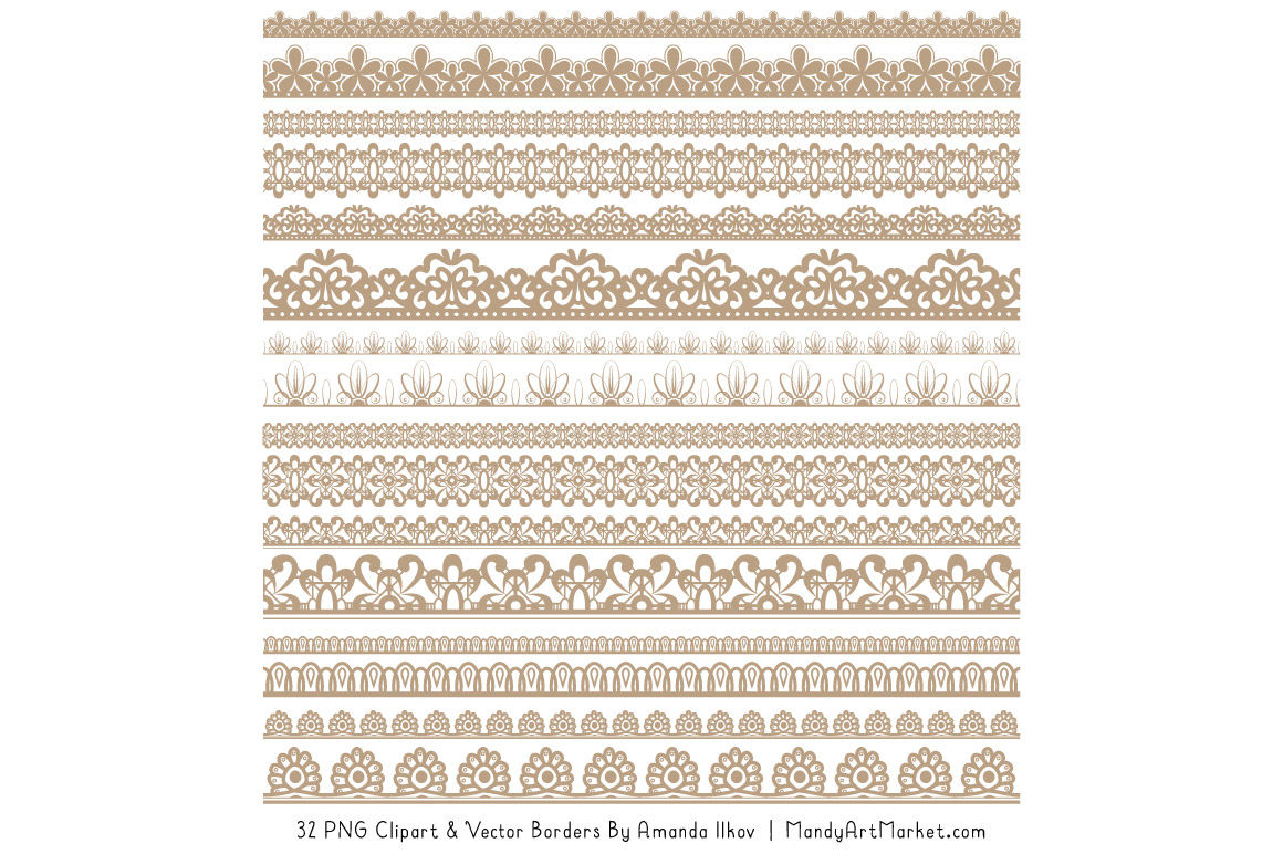 Mixed Lace Clipart Borders In Champagne By Amanda Ilkov