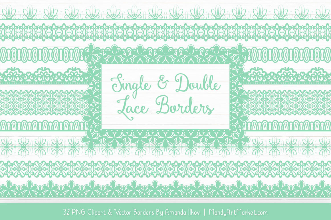 Mixed Lace Clipart Borders In Mint By Amanda Ilkov Thehungryjpeg Com