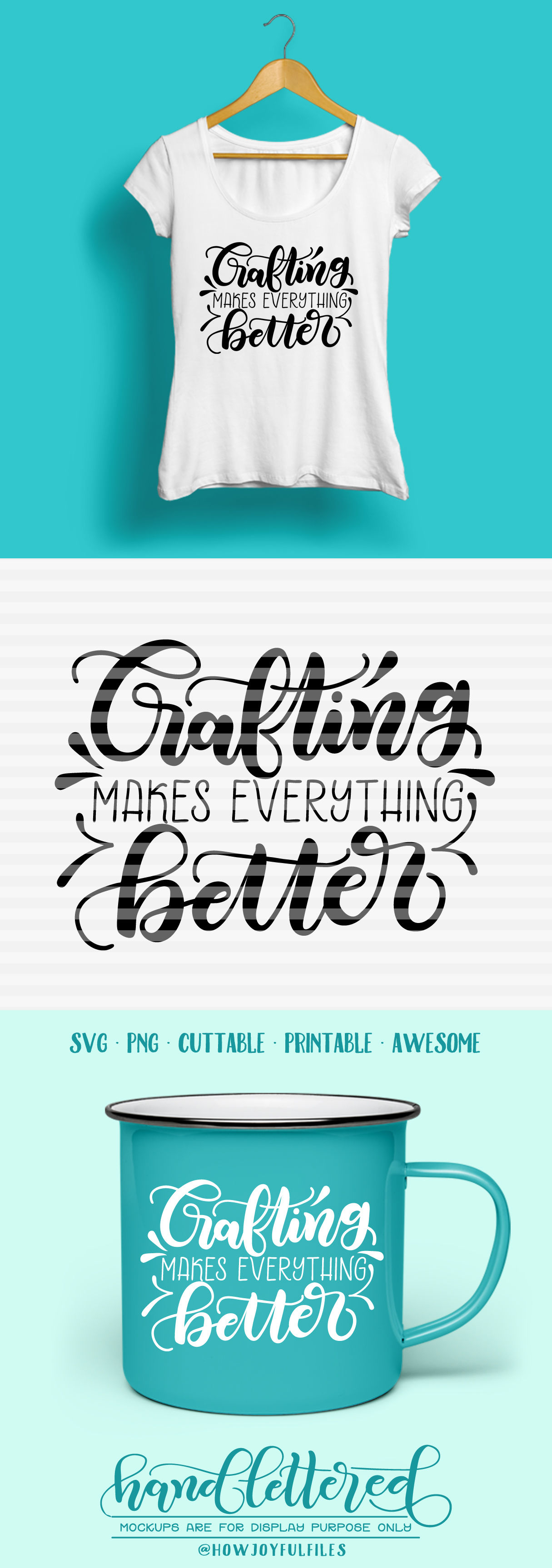 Crafting Makes Everything Better Svg Pdf Dxf Hand Drawn Lettered Cut File Graphic Overlay By Howjoyful Files Thehungryjpeg Com