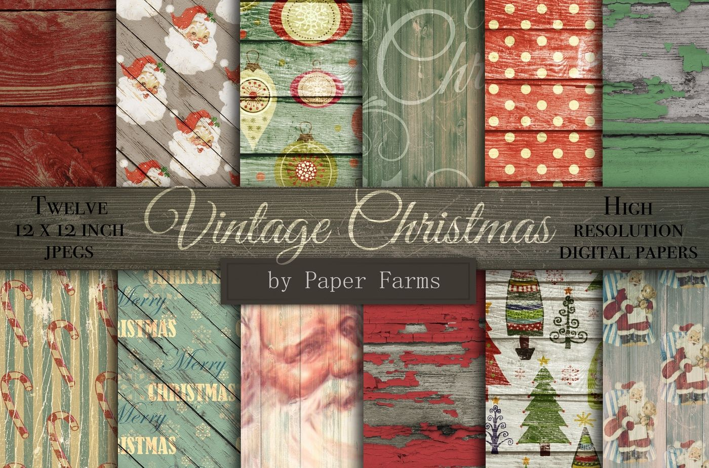 Vintage Christmas Backgrounds By Paper Farms Thehungryjpeg Com