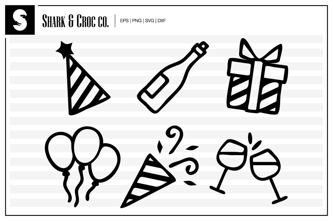 Party Items Cut Files By Shark Croc Co Thehungryjpeg Com