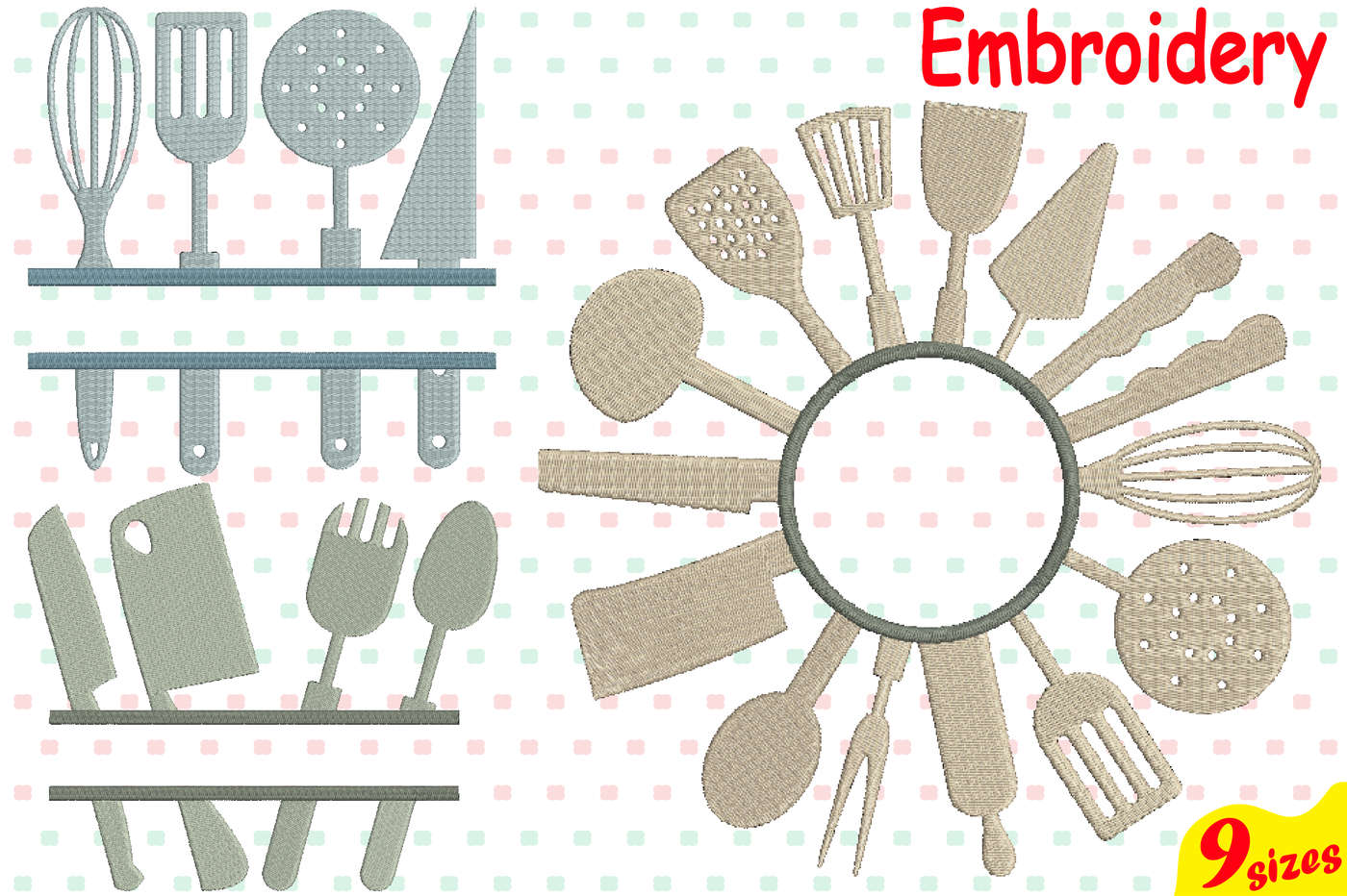 Kitchen Tools Designs For Embroidery Machine Instant Download