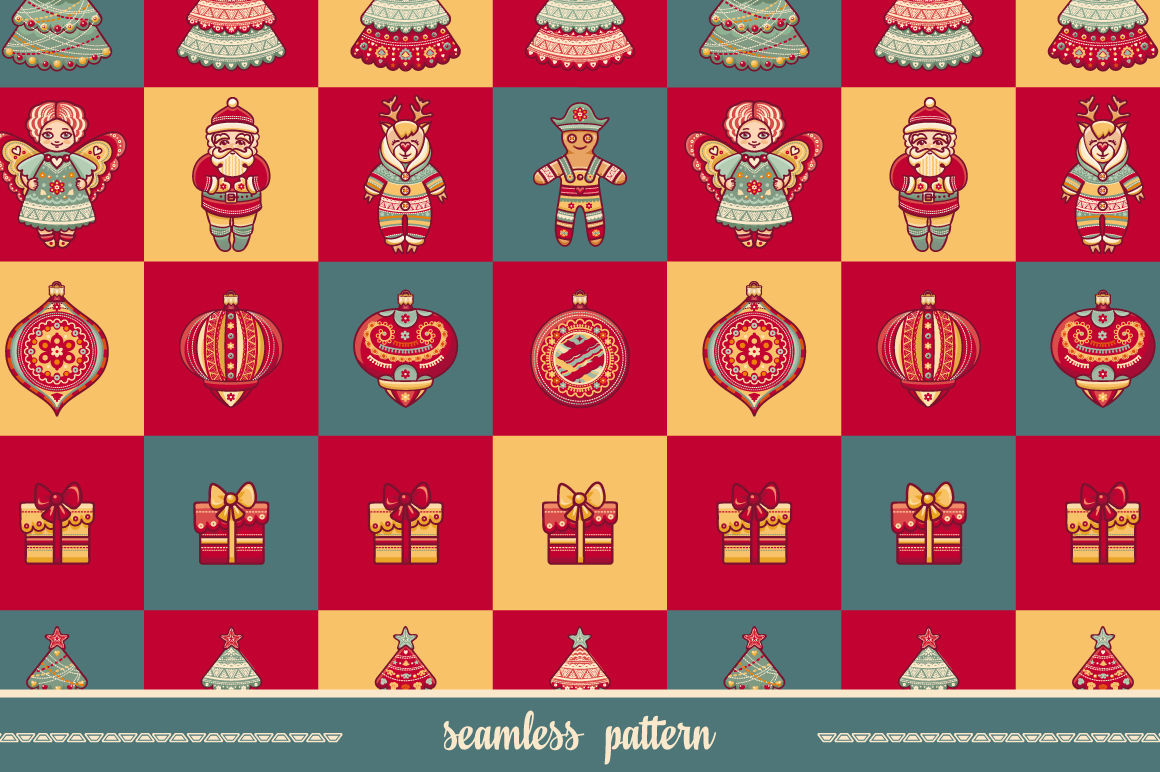 Seamless Pattern Christmas Style Christmas Hand Drawn Design