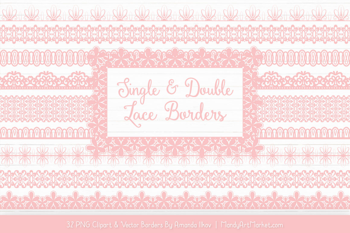 Mixed Lace Clipart Borders In Soft Pink By Amanda Ilkov