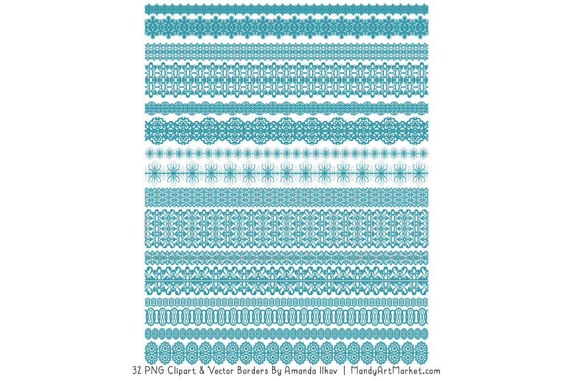 Mixed Lace Clipart Borders In Vintage Blue By Amanda Ilkov