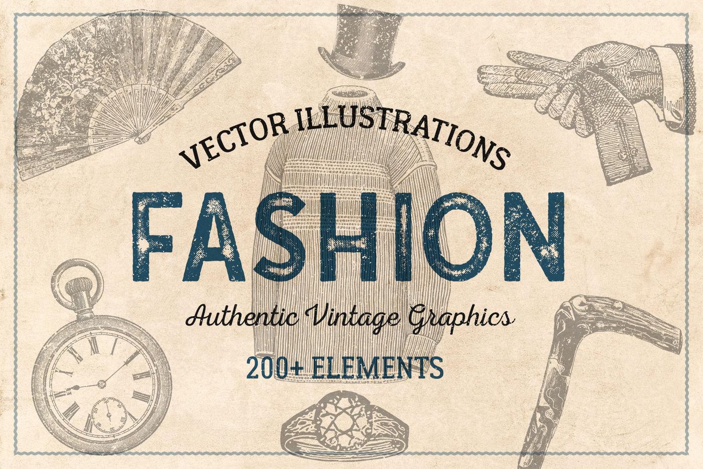 200 Vintage Fashion Illustrations By Brigantine Designs