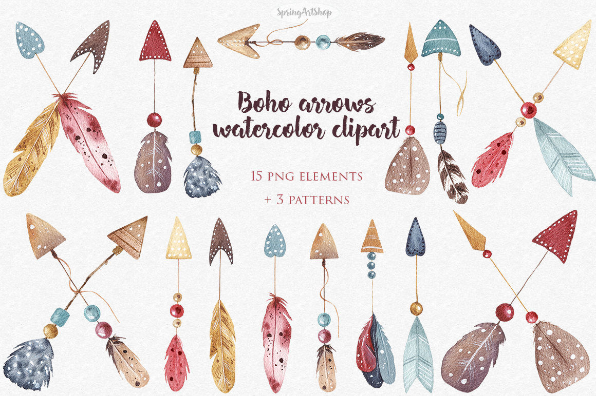 Boho watercolor arrows feather watercolor clipart Tribal ...