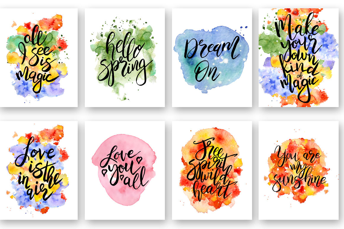 Hand Drawn Watercolor Inspirational Quotes Diy Pack Vector