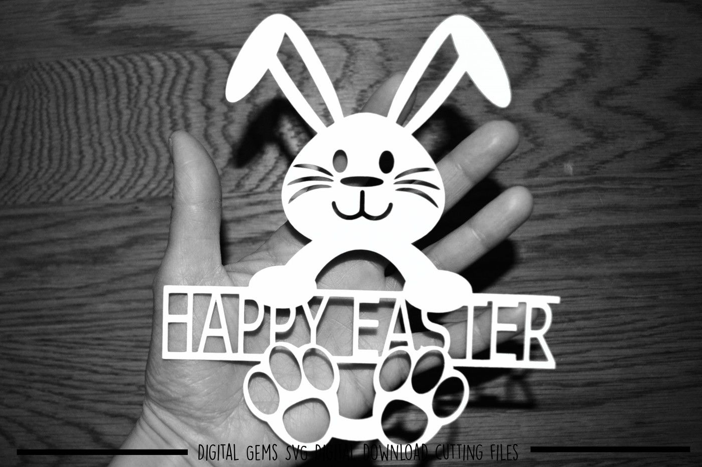 Happy Easter Svg Dxf Eps Files By Digital Gems Thehungryjpeg Com