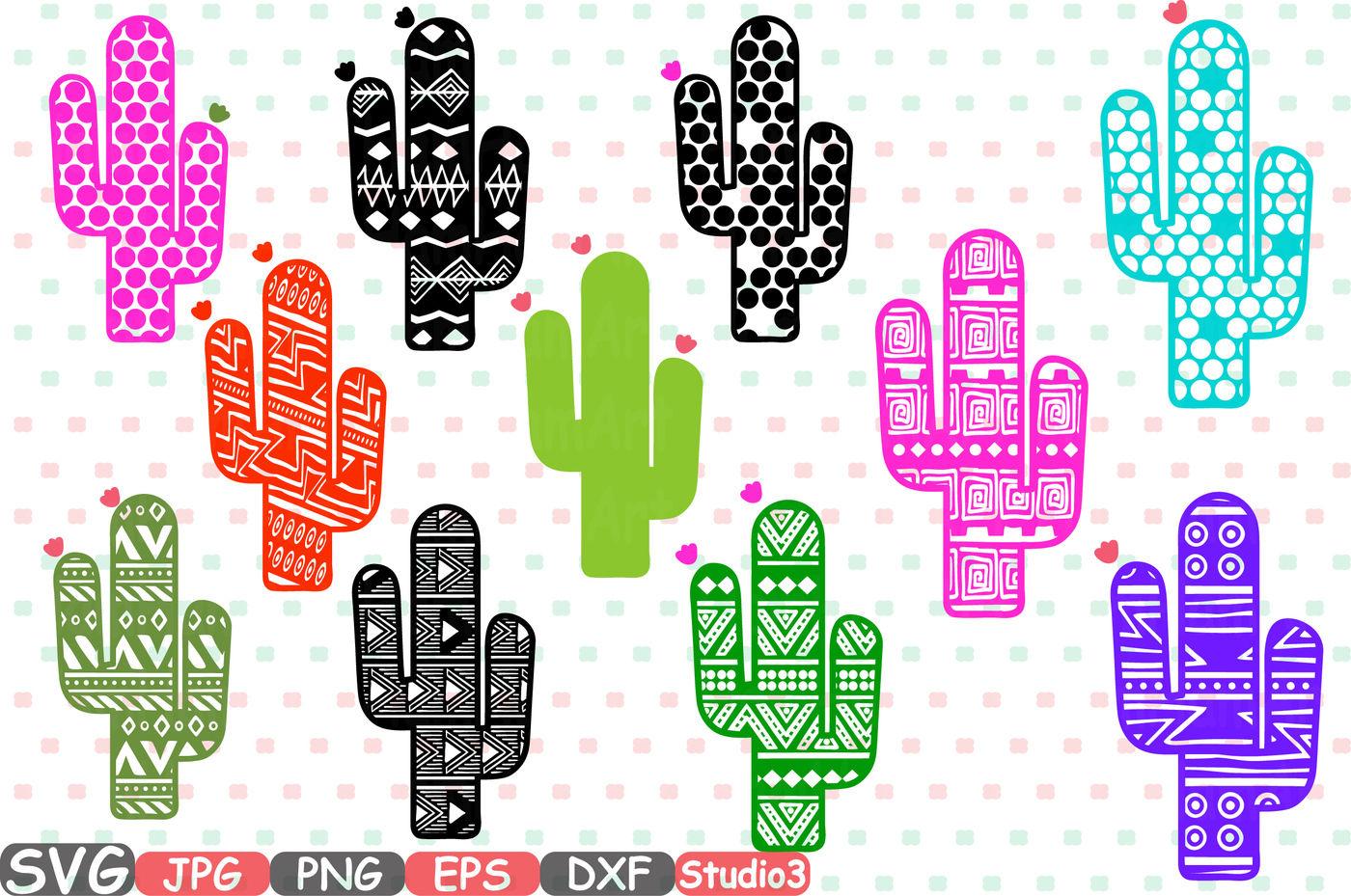 Cactus Chevron Monogram Silhouette Svg Cutting Files Digital Clip