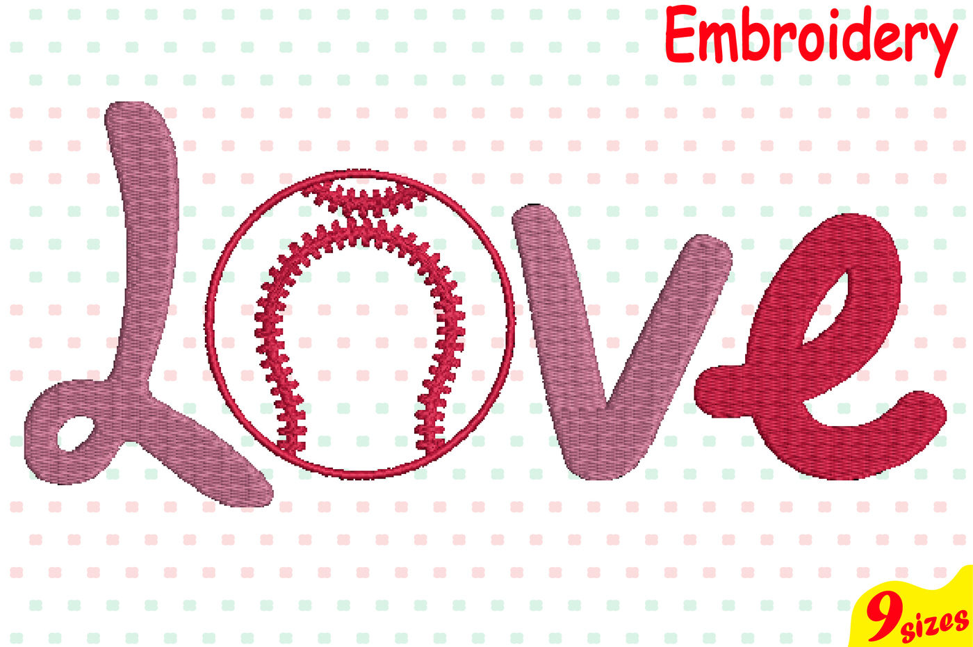 Love Baseball Ball Designs For Embroidery Machine Instant Download