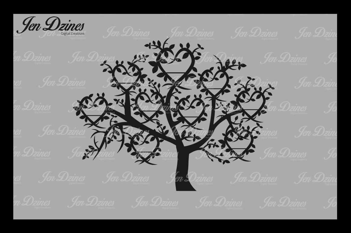 Heart Family Tree 9 Names Svg Dxf Eps Png By Jen Dzines