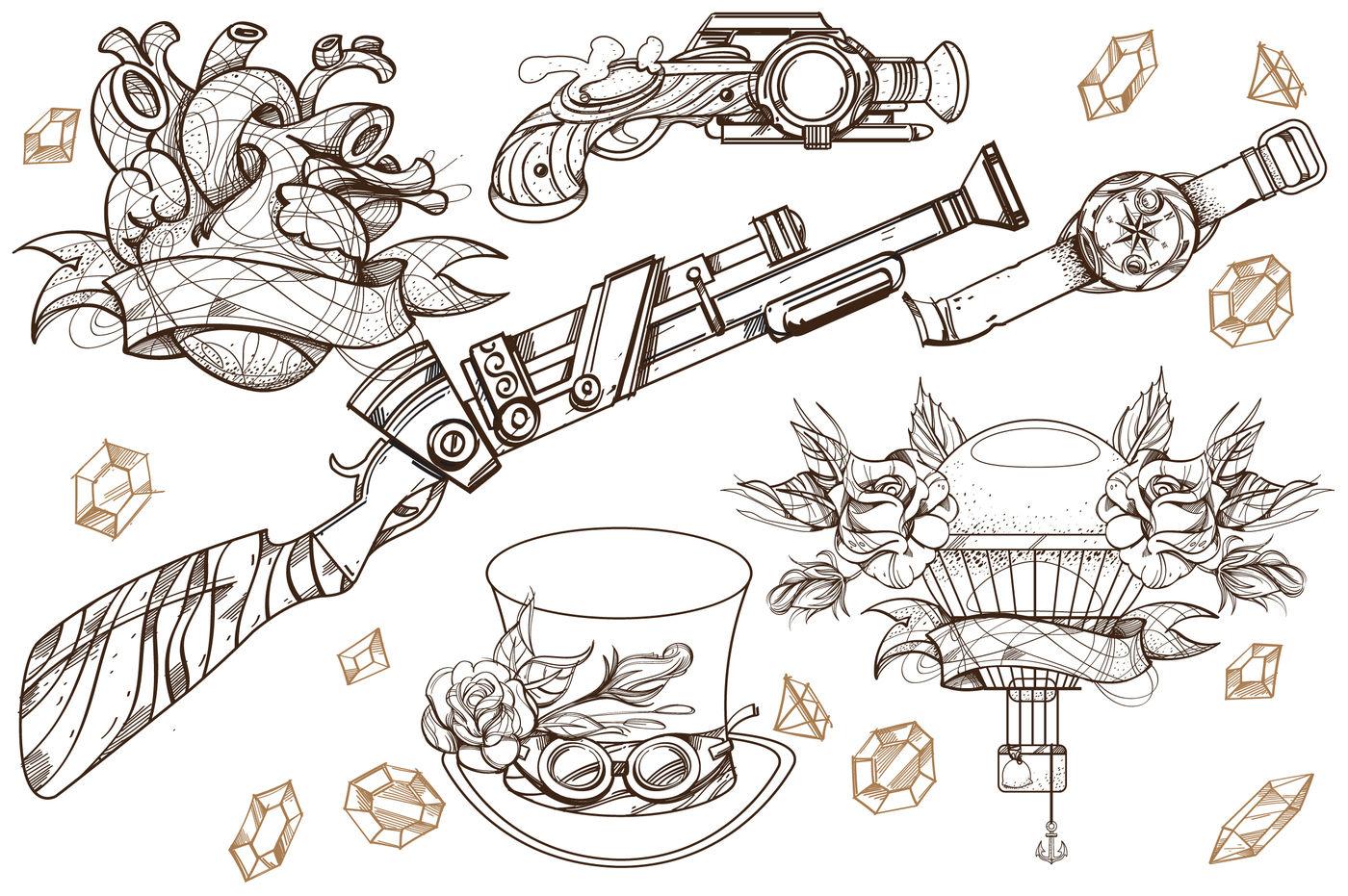 Steampunk Set By Filkusto Thehungryjpeg Com