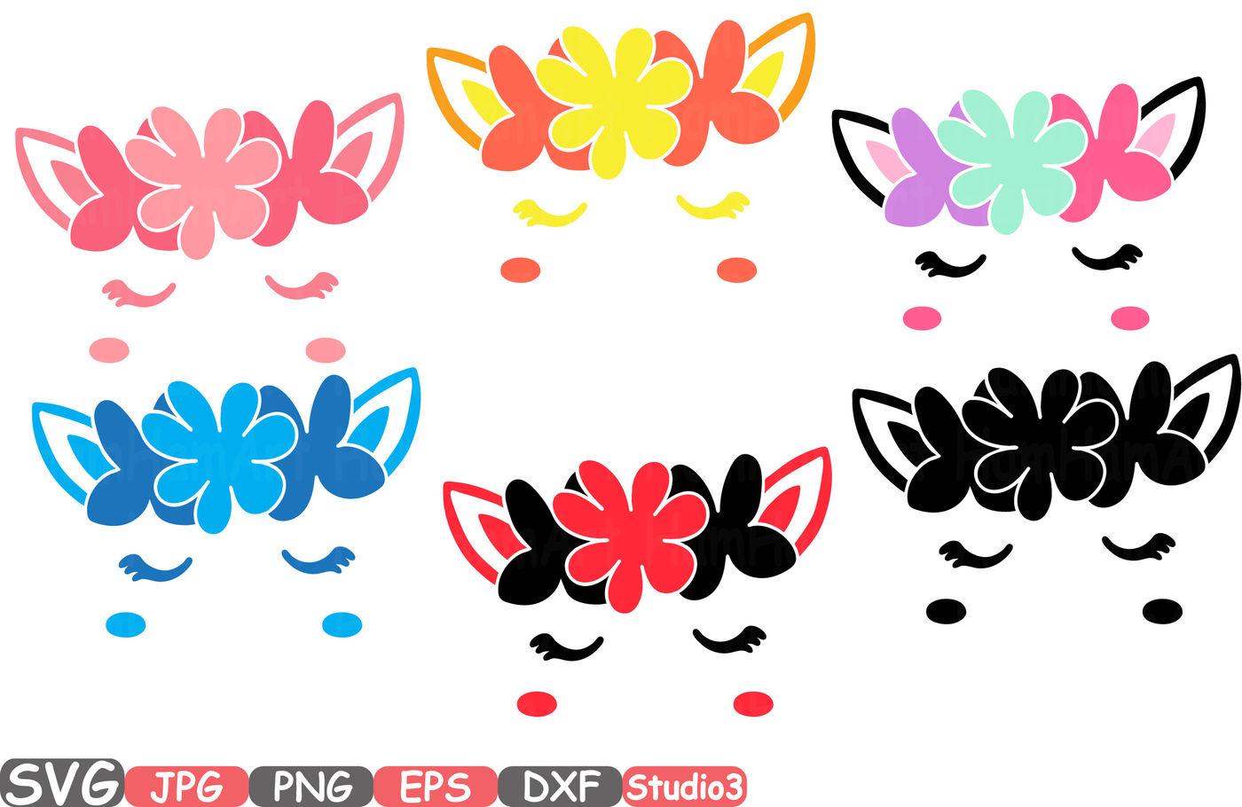 Flower Unicorn Monogram Silhouette Svg Cutting Files Digital Clip