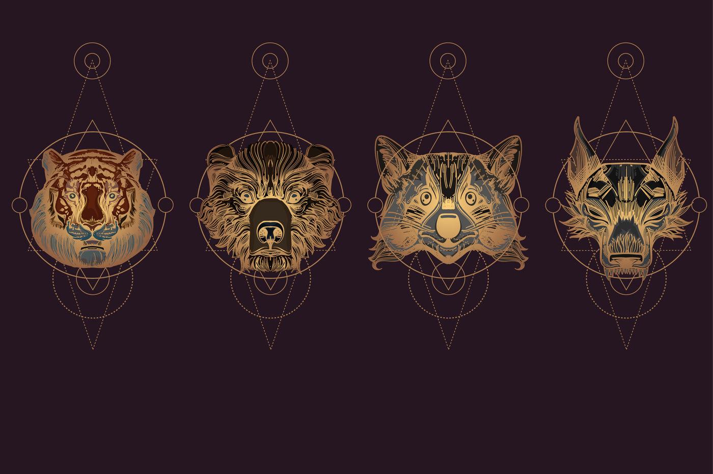 Wild Animals and Sacred Geometry By filkusto | TheHungryJPEG com