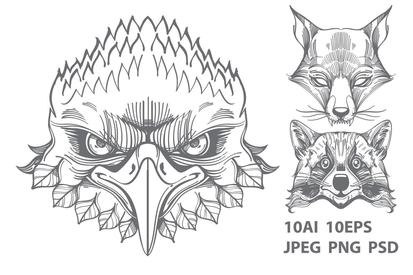 Wild Animals And Geometric Symbols By Filkusto Thehungryjpeg Com